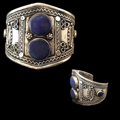 Rare Ancient Silver Decorative Gandhara Bedouin Torc With Lapis Stones 300 B.C.