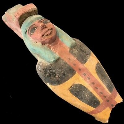 Beautiful Ancient Egyptian Wooden Statue Fragment 300 Bc