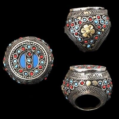 Rare Top Quality Silver Post Medieval Bedouin Ring (10)