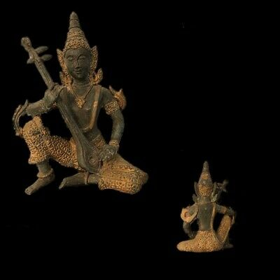 VERY RARE GANDHARA ANCIENT BRONZE & GOLD GILT STATUE 200-400 AD (Large Size) (2)