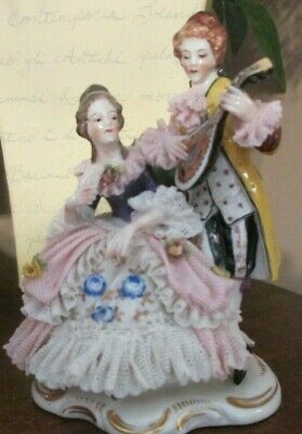 Vintage Dresden Porcelain Lace Figurine Man's Musical Serenade to Woman in Chair