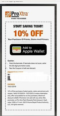 One (1x) Home Depot 10% Paint, Stain & Primer Coupon In-Store Only-fast Delivery