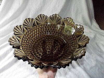 """11"""" Console fruit centerpiece BOWL Brown Amber Hobnail & Fan Imperial Glass 642"""