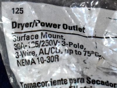 Cooper Dryer Power Outlet Surface Mount 30 Amp 125/250 Volt 3 Wire