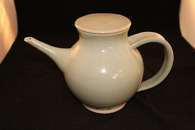 """Vintage Mid Century Ceramic Teapot 12"""" x 7"""" Earth Tones Lt Green Signed No Chips"""