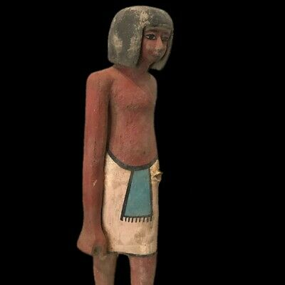 Beautiful Ancient Egyptian Wooden Statuette  300 Bc