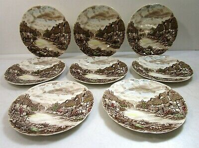 Lot of 10 'Olde English Countryside' China Dinner Plates by Johnson Bros