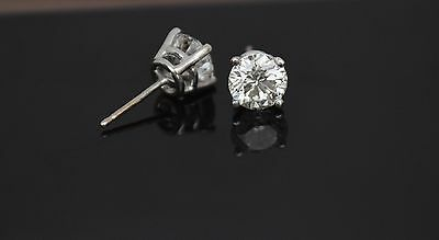 Diamond Round Push Back Tiny Stud Earrings 14K White Gold 0.10TCW New