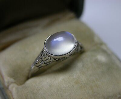 Antique Art Deco  Blue Hue Moonstone Diamond 18K Gold Filigree Engagement Ring