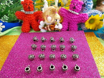 LOVELY BIG ANTIQUE SILVER PATTERNED BAILS - JEWELLERY MAKING x 35 ITEMS # 128