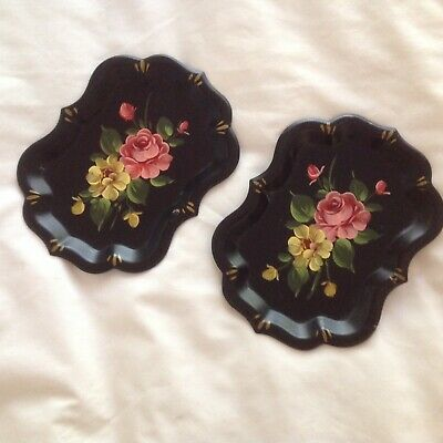 Vintage Toleware Metal Trays 2 Hand Painted Tole Black Floral Rose Shabby Chic