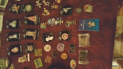 Disney Cast Member Collectible Trading Pins Lot Of 55 and 2 Lanyards As Shown
