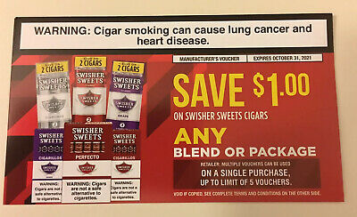 4 Valid Swisher Sweets Cigar Coupons Vouchers    $4 Value Can Redeem All At Once