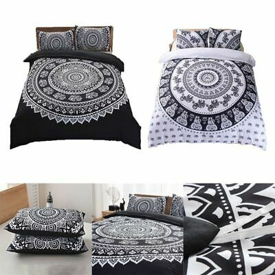Indian Style Black Ombre Mandala Quilt Duvet Cover Bedding Cotton Doona CoverSet