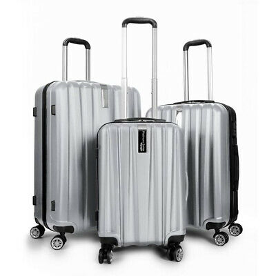 Deco Gear 3 Piece Spinner Hardside Luggage Set Travel Elite Series (Silver)