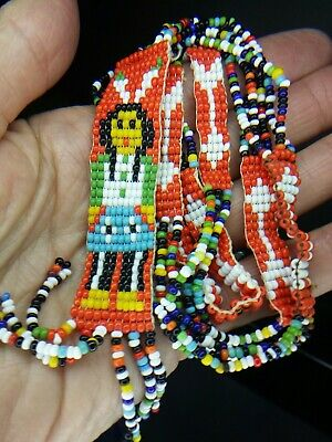 Vintage Native American Indian Seed Bead Figural Chief Necklace