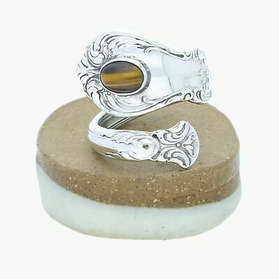 towle / sterling silver vintage 'old master' tigers eye spoon / ring 5.5 (8.5g)
