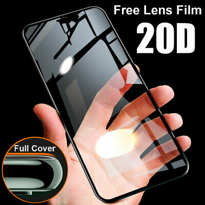 For iPhone 11 Pro Max XR 20D Full Tempered Glass Film Screen Protector+Lens Film