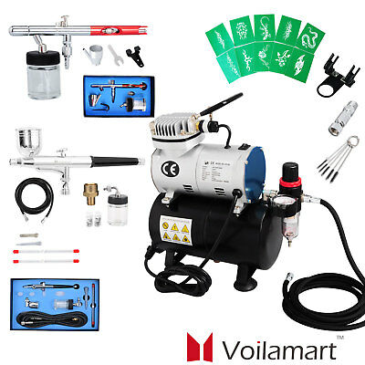 1/6HP Air Brush Compressor 5/7/22cc Airbrush Dual Action Spray Kit For Painting