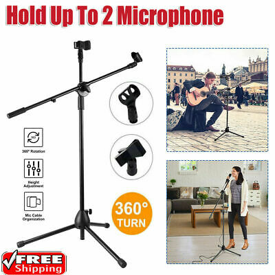 Professional Boom Microphone Mic Stand Holder Adjustable With 2 Free Clips Black