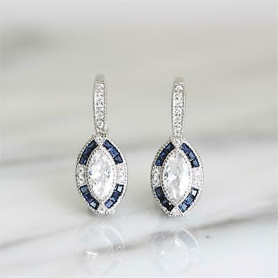 GIGI DESIGNS Sterling Silver Art Deco Style Blue Marquise CZ Leverback Earring