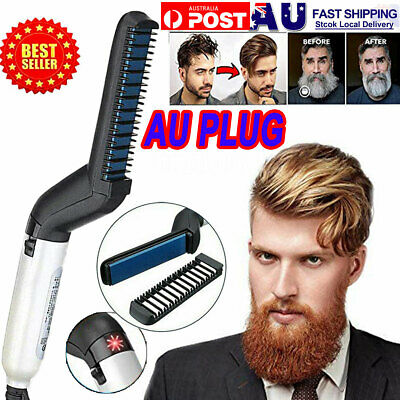 Quick Beard Straightener Hair Styler Multifunctional Comb Curler Show Cap Men AU