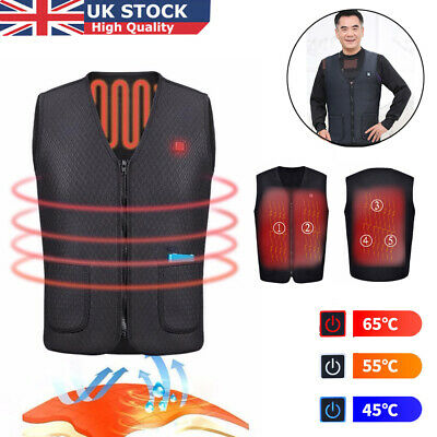 Electric Vest Heated Cloth Jacket USB Warm Up Heating Pad Body Warmer Winter UK