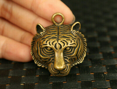 rare old bronze tiger head statue pendant necklace decoration gift netsuke