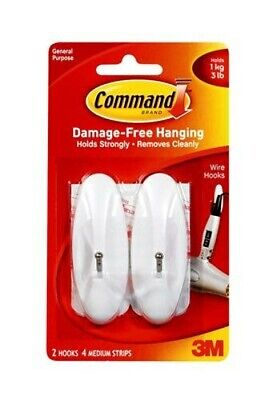 3M Command 2 Medium General Purpose Wire Hanging Hooks Holds up to 1.3kg (3lb)