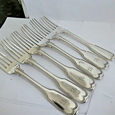 Antique Heavy Silver Plate Fiddle Thread  6 Dinner Forks 8.25 Inches Script Init