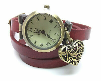 Vintage Leather watch Bracelet Watch three laps wrist watch Wrap Watch LOVE