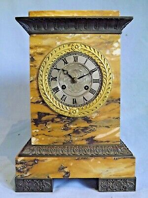 19c French Sienna Marble/Bronze Clock For Restoration.