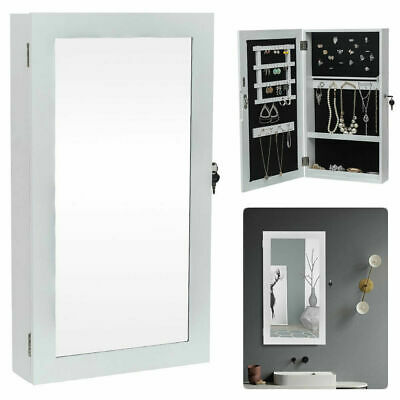 Wall Door Mounted Jewelry Cabinet Mirror Lockable Armoire Organizer Earring Slot