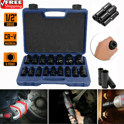 "16Pcs 6 Point Deep Impact Socket Set 1/2"" Drive Long Reach Impact Sockets IM"