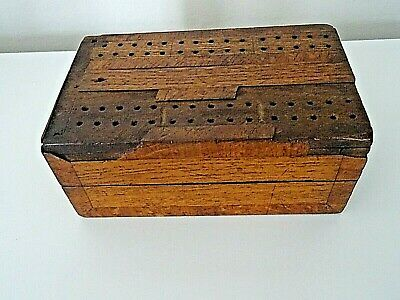 Antique/Vintage Wooden Folding Cribbage Hinged Dominoes Inlaid Box