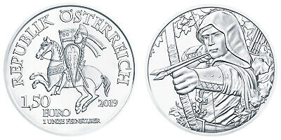 Roll of 20 - 2019 1oz Austria Robin Hood Silver Austrian Mint 825th Anniversary