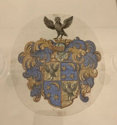 Antique Georgian Hand Painted Framed Coat Of Arms Early 19th Century