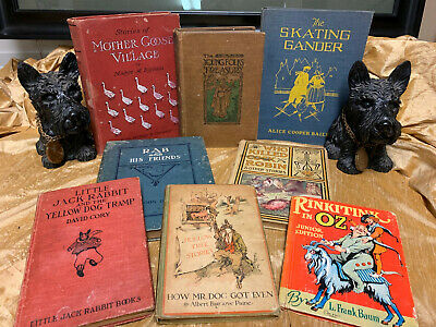 LOT of 8 Old Antique Vintage Children's Classic Book Library Decor