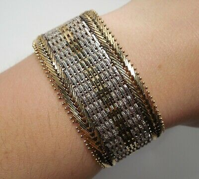 Milor - Italy - Two Tone - Sterling Silver - Wide Riccio - Link Bracelet