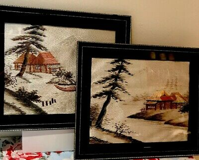 Vintage Oriental Embroidered Hand Stitched Framed Pictures Embroidered