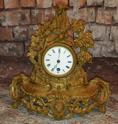 Antique Vintage French Paris Makers Stamp Brass Gilt Rococo Wind Up Mantel Clock