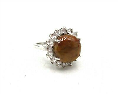 925 Sterling Silver Topaz & Agate Size 7 Ring CB385