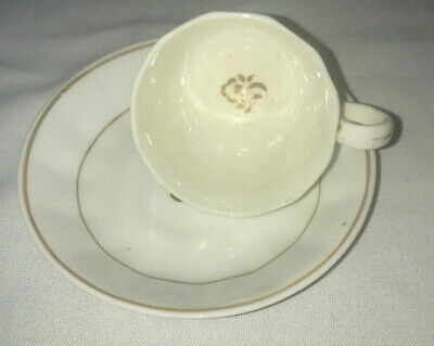 Vintage Demitasse Tea Cup & Saucer - Bone China - White with Gold Trim & Flower