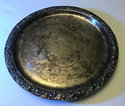 """11"""" Reproduction Sheffield Silver Plated Footed Tray - Made in Sheffield England"""
