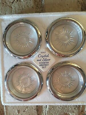 Vintage Leonard Crystal and Silver Plated Coaster Ashtray Set of 4 Italy