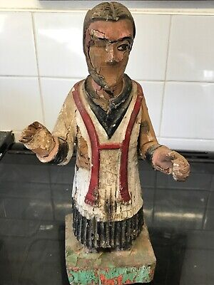 Antique Early 18th Century Santos Polychrome Wooden Figure