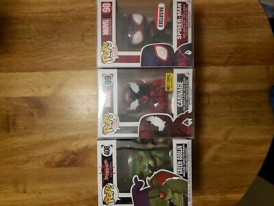 Exclusive Marvel Spider Man, Carnage  and Green Goblin lot Funko Pop