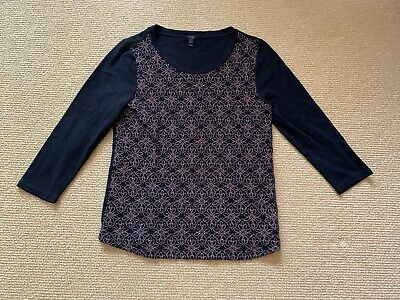 Women's J. Crew Black Floral Top, Size Large Gently Used