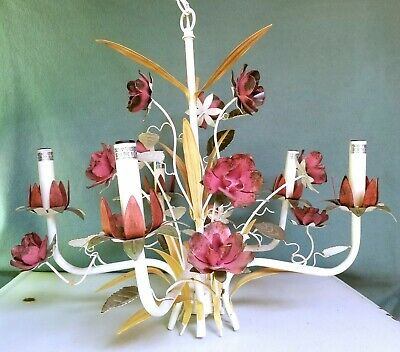 Vintage Tole Painted Metal Rose Flower Shabby Chic Chandelier Light Fixture