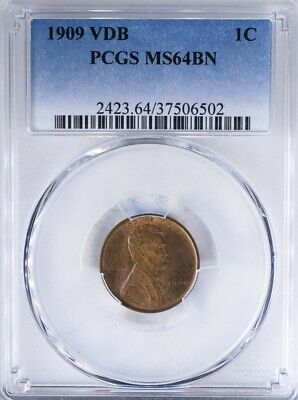 1909 VDB Lincoln Cent PCGS MS64BN Lots Of Mint Red